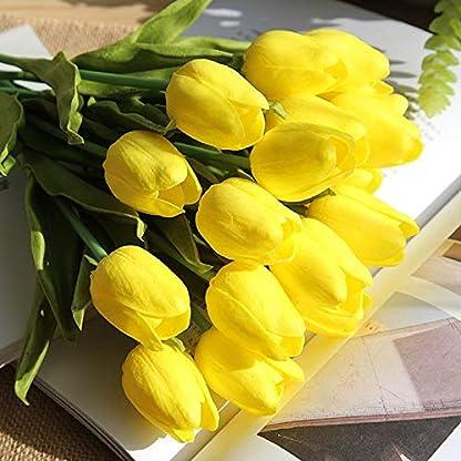 Ramo de Flores Artificiales de Seda, tulipán de Tacto Real, Ramo de Boda para el hogar, jardín, Fiesta, decoración Floral, 10 Unidades