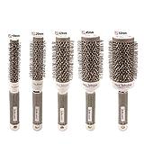 CkeyiN Brosse Cheveux Ronde - Nano thermique céramique ionique 5 tailles(19mm / 25mm / 32mm / 45mm / 53mm) - Poignée doux et anti-dérapant Pour Séchage, Coiffant, Bouclé des cheveux