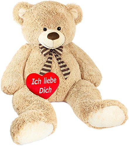 (Brubaker Riesiger XXL Teddybär 150 cm groß Beige mit Einem 'Ich Liebe Dich' Plüschherz)