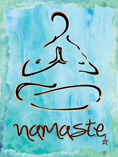 mdrqzdfh Namaste-Wanddekoration, Metall, Aufschrift Health and Well Being Yoga Sanskrit Hindi Greetingyoda, Damen, blau -