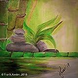 Visons of Energy - Frank Xavier 'Bambus auf Steinen' 40x40cm | Original handgemaltes Bild | Naturalistisch Grün Gelb Bambus | Leinwand-Bild Acrylgemälde Einteilig groß | Modernes Kunst Acrylbild