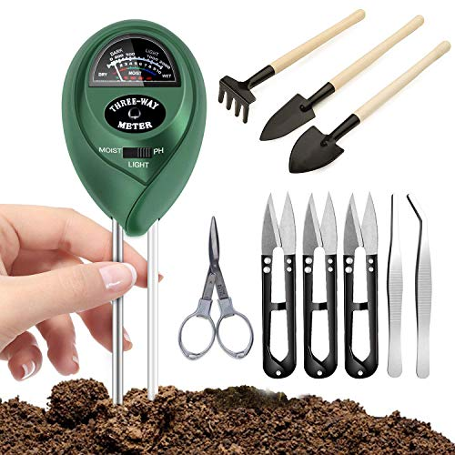 Namotu Soil Moisture Meter with 9 Pcs Gardening Bonsai Tool Sets, 3-in-1 Moisture Sensor/Sunlight/Ph, Include Pruner, Folding Scissors, Mini Rake, Bud & Leaf Trimmer Set (Green)
