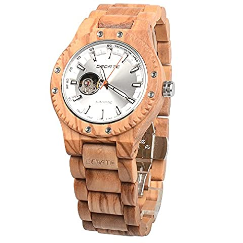 BEDATE Wood Watches Mens 30M Water Resistant Mechanical Hand-wind Wristwatch for Unisex Retro Style Bracelet