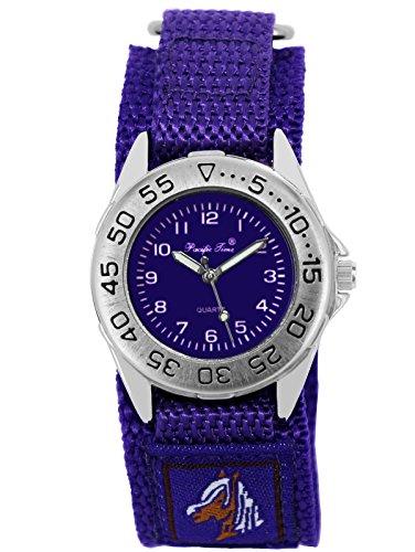 Pacific Time Kinder-Armbanduhr Pferde Mädchen Uhr Klett Textilarmband Analog Quarz lila violett 21694