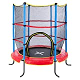 Ultrasport Kinder Indoortramplin Jumper 140 Inklusiv Sicherheitsnetz, Rot/Blau, 33070000065P
