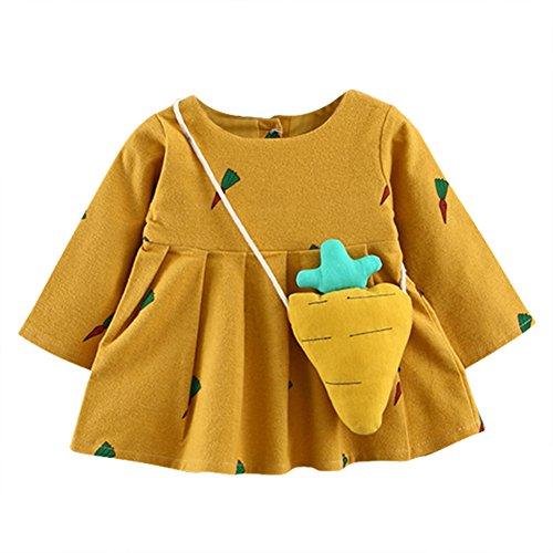 Bornbayb manche longue robe bébé bébé fille princesse carotte poche l'âge 2 - 3 0 - 24 mois