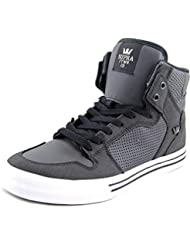 Supra Mens Vaider Black Black White Skate Shoes