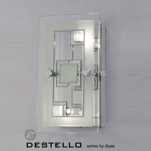 Destello Wall/Ceiling 2 Light Rectangle With Square Pattern Polished Chrome/Crystal