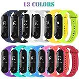 Madozon 13 Piezas Correas para Xiaomi Mi Band 3 4 Pulsera Reloj Silicona Banda para Mijia Mi Band 3/4 - 13 Colores