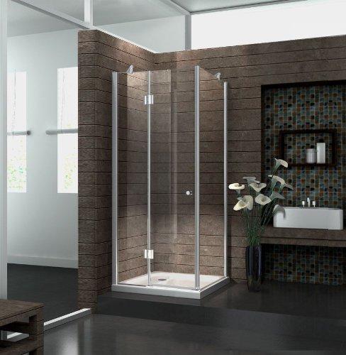 Duschkabine 8 mm Duschabtrennung Dusche Echt Glas 80 x 80 x 180 cm NOVUM ohne Duschtasse