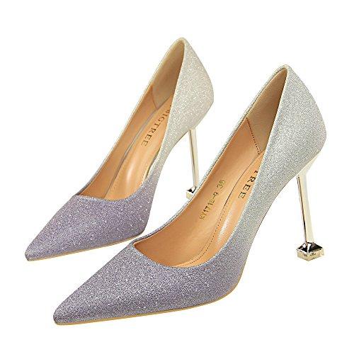 Frauen High Heel Abend Schuhe sexy spitz Bare Gürtel Slip in Gradienten Glitzer Kleid Stöckelschuhe, lila, 37 -