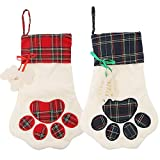 Deggodech 2 Pack White Christmas Stockings Large 46cm Pet Christmas Hanging Stockings Xmas Stockings Personalised Red Green Dog Paw for Christmas Socks Gift Bag Home Decorations - 18inch/46cm