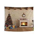 ODJOY-FAN Weihnachten Kunst Zuhause Wand Hängend Tapisserie Weihnachtsbaum Pfirsich Leder Stoff Tapisserie Wand Dekor Wandbilder Ornamentik (150x130 cm)(E,1 PC)