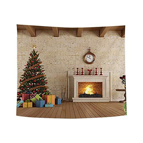 ODJOY-FAN Weihnachten Kunst Zuhause Wand Hängend Tapisserie Weihnachtsbaum Pfirsich Leder Stoff...