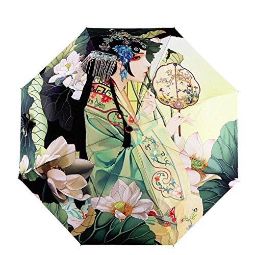 JAYLONG Sombrilla de viaje 8 costillas a prueba de viento Estilo chino Construcción de acero inoxidable robusta portátil Secado rápido Impermeable paraguas para mujeres, hombres, niños y niños, A
