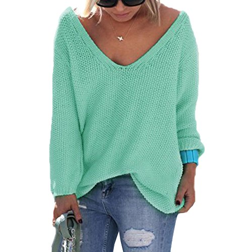 Smile YKK Sweat-shirt Grande Taille Femme Pull Col V T-shirt Manche Longue Top Haut Casual Mode Vert