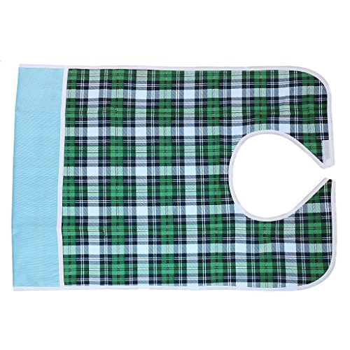 Waterproof Coverall Adult's Bib Pocket Apron Mealtime Spill Protector - 5 Colors to Choose - green grid, Full