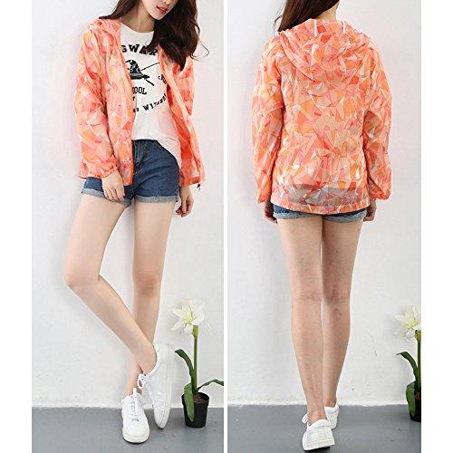 Eastlion Tarnung Geometrisches Muster Sonnenschutzkleidung Kleider Anti-UV Mit Kapuze Draussen Sport Windbreaker Weiblich Orange