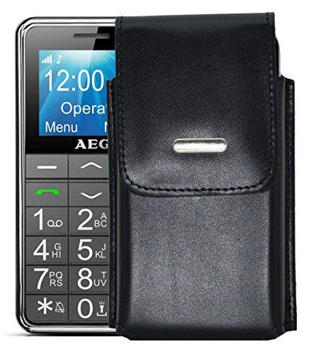 Vertikal Etui für / AEG Voxtel M250 / Köcher Tasche Hülle Ledertasche Vertical Case Handytasche mit einer Gürtelschlaufe auf der Rückseite -