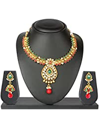 Vk Jewels Wedding Collection Gold Brass Alloy Necklace Set For Women Vknks1073G