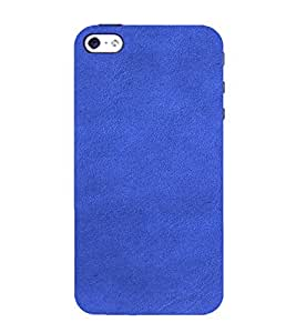 PrintVisa Blue Leather Design 3D Hard Polycarbonate Designer Back Case Cover for Apple iPhone 5 :: 5S