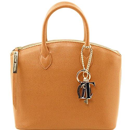 Tuscany Leather TL KeyLuck - Borsa shopper in pelle Saffiano - Misura piccola Nero Borse donna a mano in pelle Cognac