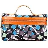 Yuanu Multifunktional Große Kapazität Nylon Handtasche Waschbeutel Dauerhaft Mode Drucken Kosmetiktasche Mit Fächern Blau Grau 23 * 7 * 13 cm