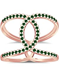 Silvernshine Halo Twist Green Garnet CZ Diamonds Engagement Ring 14k Rose Gold PL Bridal Ring