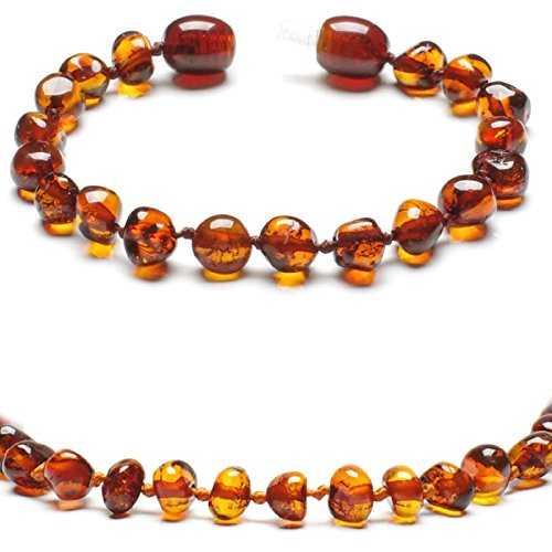 Baltic Secret New New Baltic Amber Anklet Bracelet Cognac - Handmade 100% Genuine Amber Beads - Premium Quality - 13.5cm