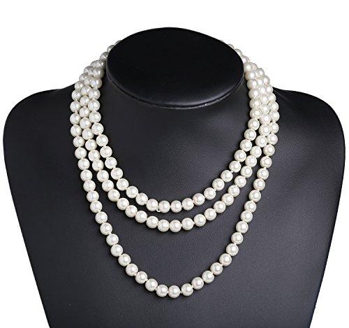 Babeyond Art Deco 3strati Strand catena flapper Beads cluster bianco perle finte collana girocollo