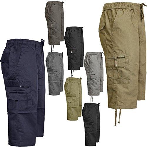 FashionEgo™ New Mens Elasticated Waist Smart Casual Summer Plain Cargo Long 3/4 Shorts Pants