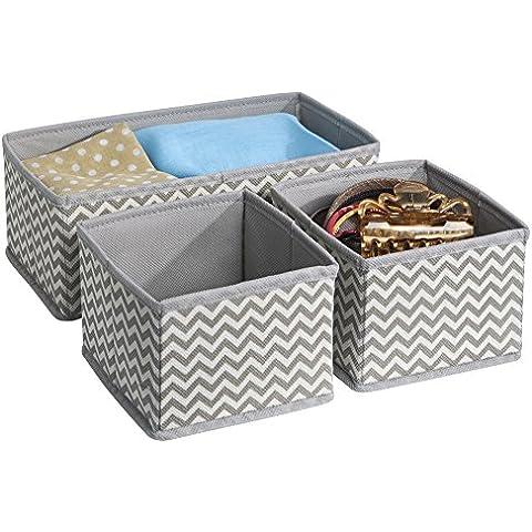 mDesign - Organizador de tela, para guardarropa / Caja para almacenamiento; guarda corpiños, ropa interior, soquetes, calzas, pantimedias - juego de 3 - Gris topo/natural