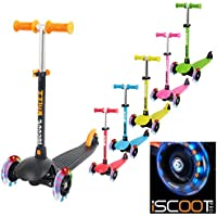 iScoot Whizz© Light Weight 3 Wheel Tilt and Turn Kick Scooter with LED Light Up Wheels T-Bar Bobbi Board for Boys / Girls / Children / Kids - Ages 3-5