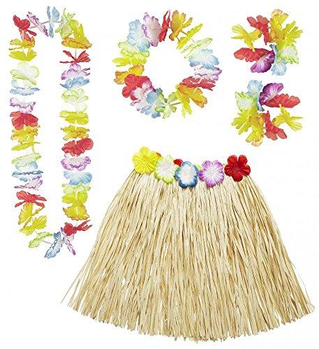 tüm Bastrock Hawaiikette Kranz Armbänder Party Strand Schmuck (Kostüm Hawaii)