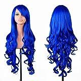 EmaxDesign de las pelucas 80cm calidad de alta largo completo de las mujeres pelo rizado pelo ondulado mechas prueba calor con pelo rulos libre peluca peine(color:azul oscuro)