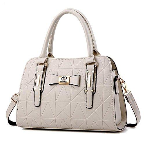 HQYSS Borse donna Le donne cuoio dell'unità di elaborazione di affari Tracolla Messenger leggero registrabile della borsa , silver white