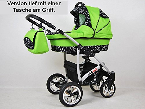 Kinderwagen Largo, 3 in 1- Set Wanne Buggy Babyschale Autositz Schwarz + coffe -