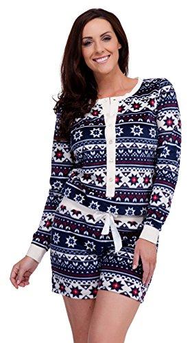 Pour Femmes Fairisle Imprimé Polaire Micro Fibre Combinaison De Luxe Thermique Chaleur Pyjamas Marine Aztèque