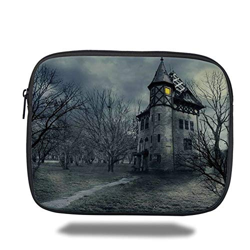 Tablet Bag for Ipad air 2/3/4/mini 9.7 inch,Halloween,Halloween Design with Gothic Haunted House Dark Sky and Leafless Trees Spooky Theme Decorative,Teal,Bag