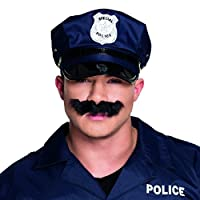 NET TOYS Police Moustache - black | Cop Fake Mustache | Policeman Costume Beard | Detective Fancy Dress Accessory