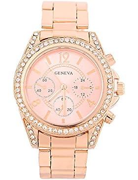 KAIKSO-IN Damenmode Genf Bling Kristalledelstahl-analoge Quarz-Armbanduhr (Rose Gold)
