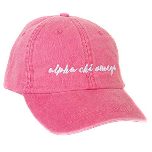 Desert Cactus Alpha Chi Omega (N) Sorority Baseball Cap Hat Cursive Namen Schriftart AXO Hot Pink