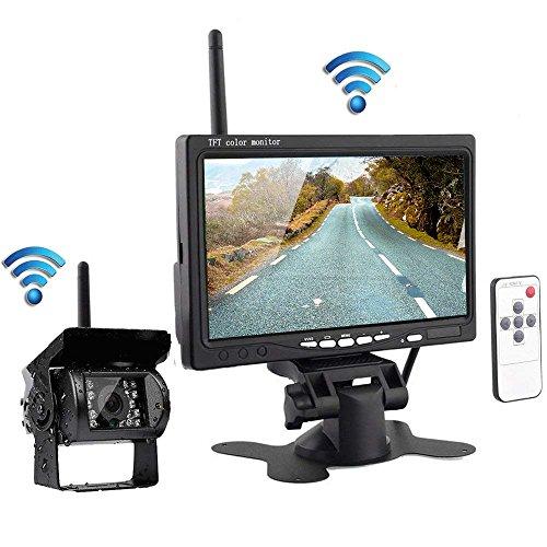 podofo Caméra de Recul sans Fil 18 LEDs Etanche Vision Nocturne Infrarouge avec 7 Pouces HD TFT Ecran Aide au Stationnement pour RV Remorque Camion Bus