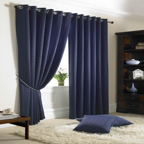 Madison Lined Eyelet Ring Top Curtains Navy 66×54