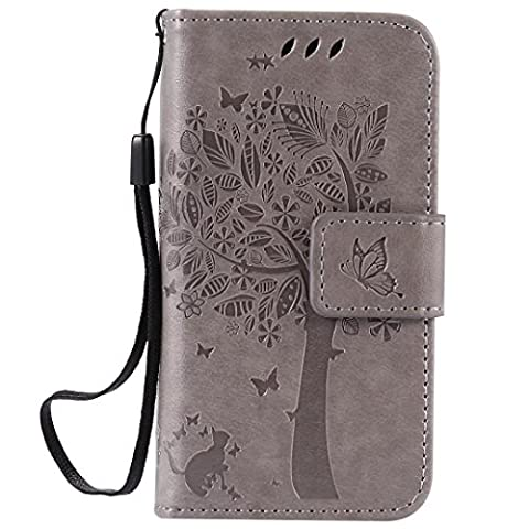 Apple iPhone 4/4S Case Leather, Ecoway Cat and tree Patterned