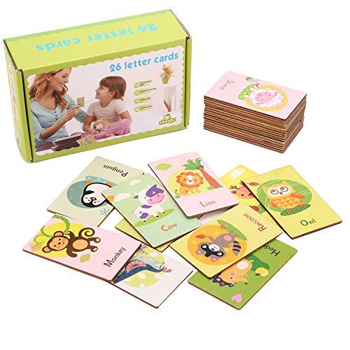 Jacootoys Holz 26 Buchstaben Double Side Flash Karten Alphabet Cartoon Tiere Lernen Karte frühen pädagogisches Spielzeug (Kleinkind Lernen-karten)