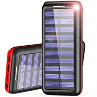 Powerbank AKEEM 24000mAh Verbessert Externer Akku, Solar Ladegerät mit 3 USB Ausgängen (Lightning & Micro) Tragbare Power Bank für das iPhone, iPad, Samsung Galaxy und andere Smartphones/Handys(Rot)