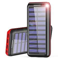 Idea Regalo - Caricabatterie Portatile Powerbank Versione aggiornata AKEEM 24000mAh Batteria Esterna 3 porte USB con 2 Porte di Entrata(Lighting & Micro 2.1A USB) per iPhone, iPad, Samsung, Huawei, Nexus, HTC e altro smartphone, tablets(Rosso)