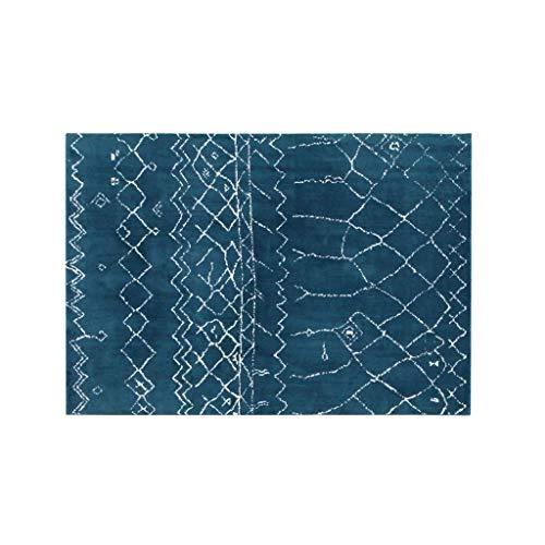 JXLBB Polyester Rusg Blau Marokkanische Nordic Teppichmatte Einfache Geometrische Druck 1.4x2m Couchtisch Pad Dicke 10mm Weiche Verdickung