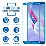 Helix 5D 9H Full Curve Premium Tempered Glass Full Screen Coverage Anti-Scratch Protective Film Edge to Edge Tempered Glass for Honor 9N - Blue
